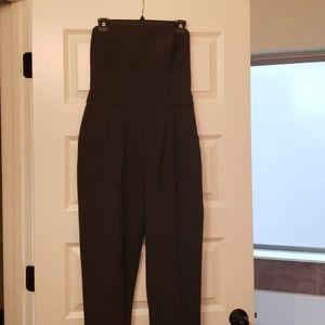 Trina Turk charcoal grey strapless jumpsuit